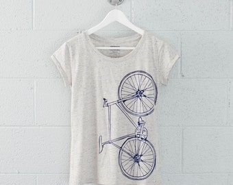 Women's Large Fixie Bike Tee, Navy on Eco-Wheat