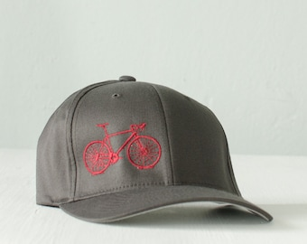S/M flexfit HAT FITTED, raspberry BIKE on charcoal, small - medium - Vital Bicycle