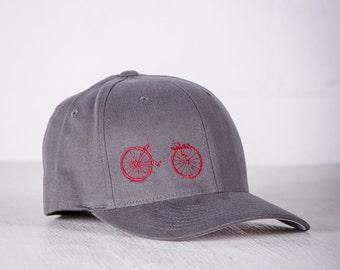 BIKE WRECK! Vital Bicycle Flexfit Fitted Cap Raspberry on Grey Small/Medium- 003