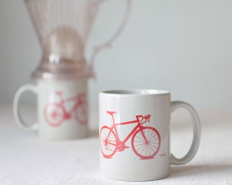 Bike mug - grey and red - screen printed bicycle coffee cup