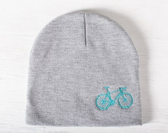 VITAL BICYCLE Knit BEANIE winter hat, tuquoise bike embroidered on warm gray cap