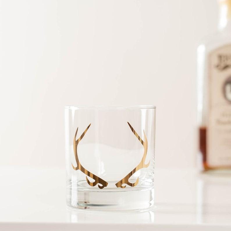 20K Gold Antler Rocks Cocktail Glass SET of 2 image 0