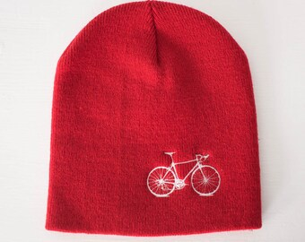 VITAL BICYCLE Knit BEANIE winter hat, White Bike embroidered on Red cap