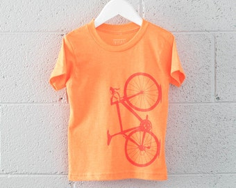 Neon Toddler 4T Tee - Bicycle T-shirt Flame Red on Neon Orange 4T
