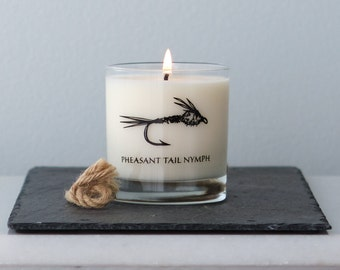 Fly Fishing Candle, black screen print