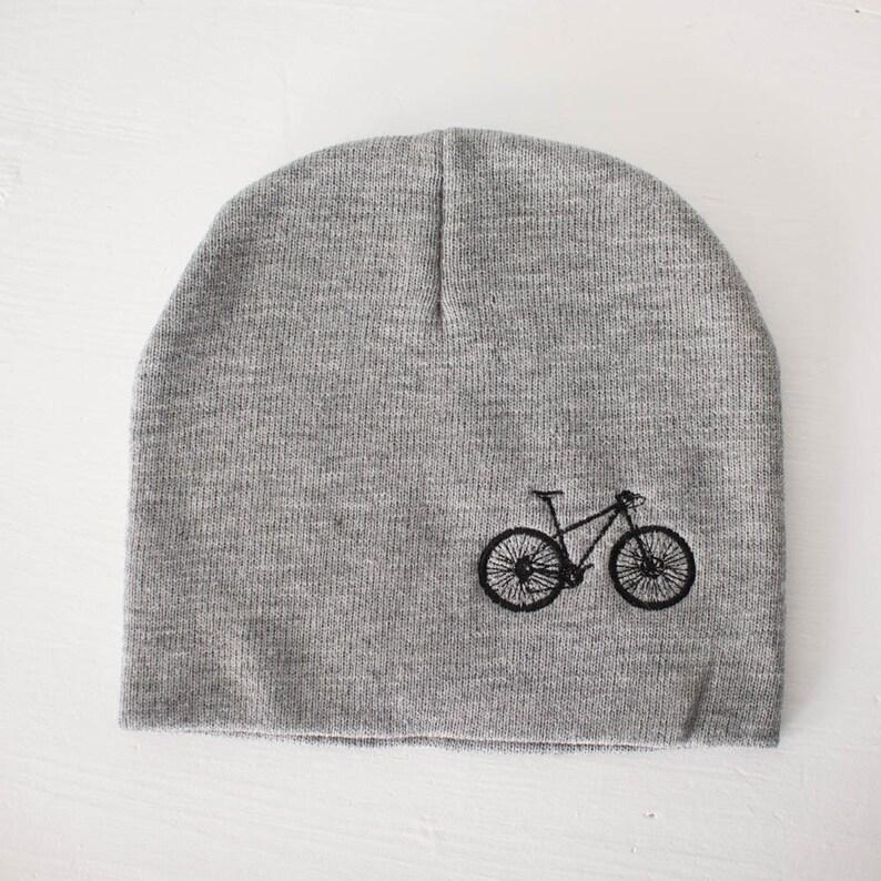 MOUNTAIN BIKE Knit Beanie winter hat black embroidered bike  35c3be4b81ae