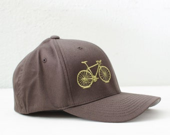 VITAL BICYCLE S/M Flexfit Fitted Cap Olive on Brown, small/medium