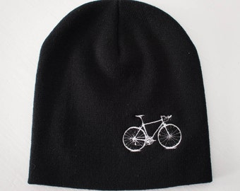 VITAL BICYCLE Knit BEANIE winter hat, embroidered white bike on black cap
