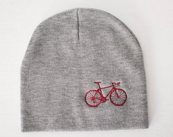 VITAL BICYCLE Knit BEANIE winter hat, Dark Red bike embroidered on warm gray cap