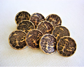 Neat Vintage Pictorial Metal Buttons