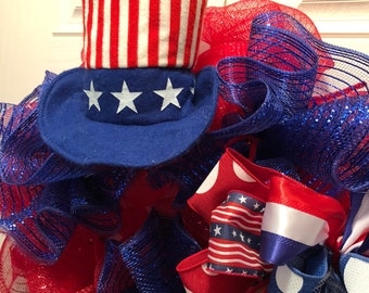 Patriotic Wreath  Uncle Sam Wreath  Red, White, and Blue Wreath