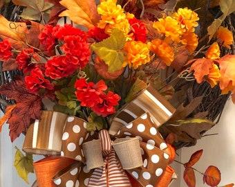 Fall Wreath, Autumn Wreath, Thanksgiving Wreath
