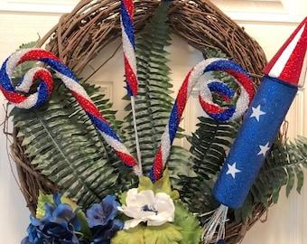 Patriotic Wreath, 4th of July Wreath, Summer Wreath