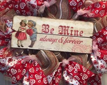 Valentine Wreath, Skinny Valentine Wreath, Between Door Wreath