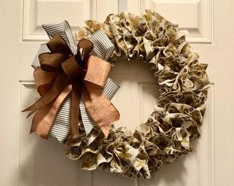 Fall Wreath   Burlap Wreath  Skinny Wreath