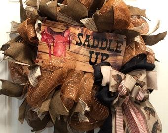 Saddle up Wreath, Horse lovers wreath, Horse rider Wreath