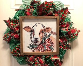 Skinny Christmas Wreath, Christmas Cow Wreath, cow wreath, Farmhouse