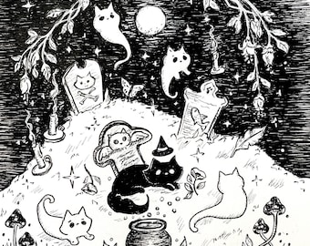 5x5 mini print of Cemetery Cats