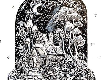 5x7 print Moonflowers and Mushrooms