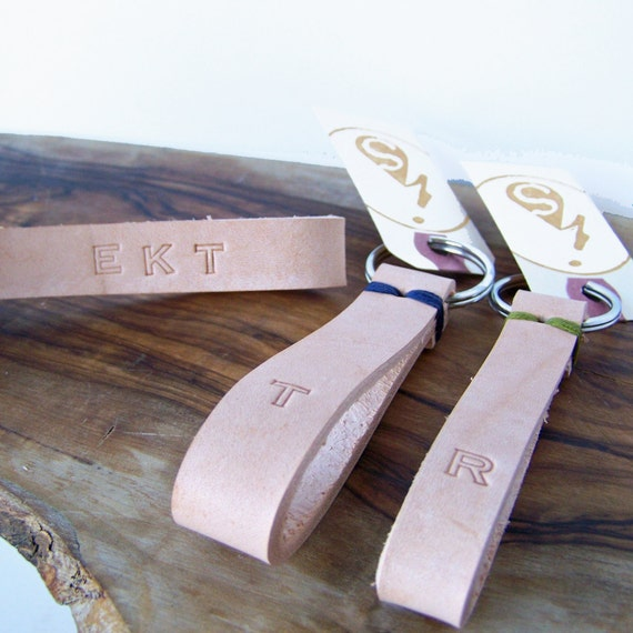 Favorite Keychain: Personalized. Monogram or Initial. Honey Leather. Choose your stitch color.