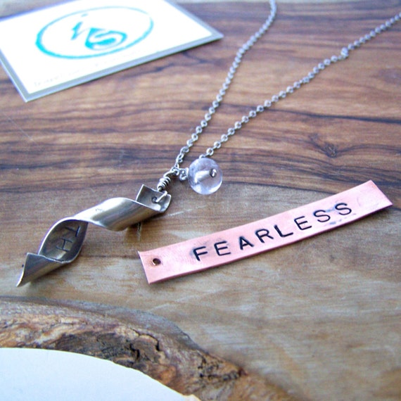Secret Message Necklace. Fearless. Choose your finish.