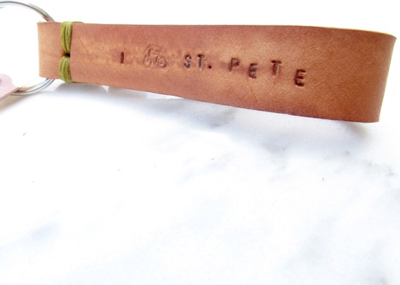 Clearance Sale: **READY TO SHIP** I Bike St. Pete, Stitch Leather Keychain- Choose your color.