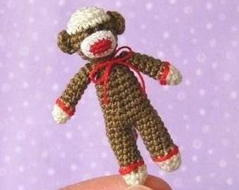 Miniature Sockmonkey -  AMIGURUMI Crochet PATTERN
