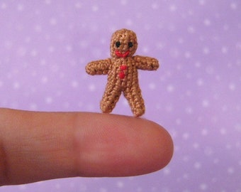 Micro Miniature Gingerbread Man -  AMIGURUMI Crochet PATTERN