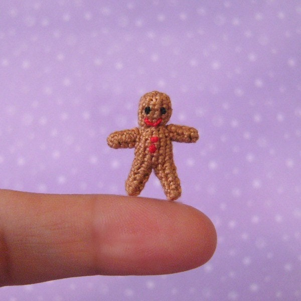 Micro,Gingerbread,Man,-,Amigurumi,Crochet,PDF,Pattern,Gingerbread_man,stocking_filler,Christmas,mariella_vitale,muffa_miniatures,PDF_Pattern,Crochet_Tutorial,crochet_pattern,miniature_amigurumi,miniature_crochet,amigurumi,micro_crochet