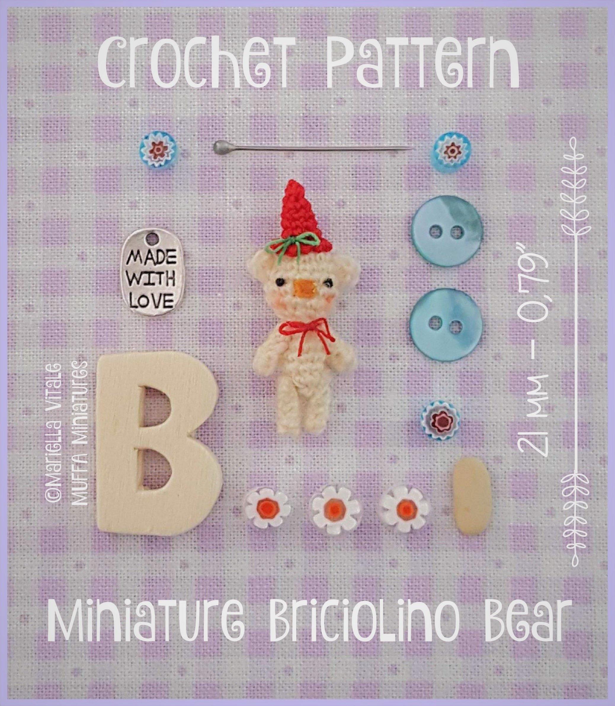 PDF,PATTERN,-,Crochet,Miniature,Briciolino,Bear,Amigurumi,Tutorial,Supplies,miniature,amigurumi,pattern,teddy_bear,DIY,bear,crochet,micro_crochet,schema_uncinetto,thread_bear,crochet_bear_pattern