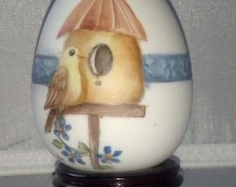 China Painted  Bird House Porcelain Egg