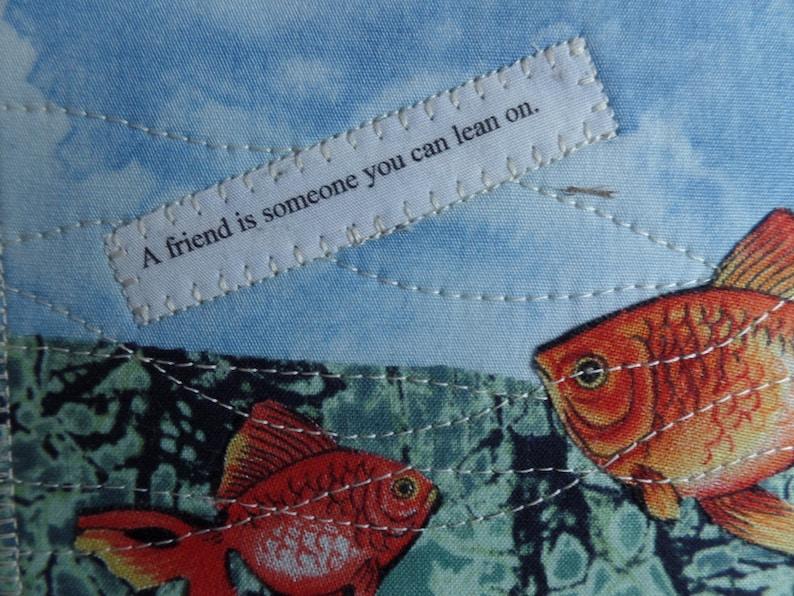 Goldfish fabric postcard Fabric postcards Goldfish.