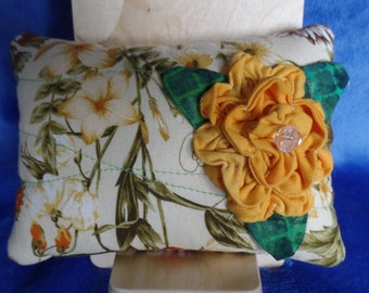Fabric bowl filler. Pillow tuck pillow.  Yellow flower.