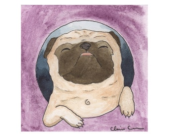 Pug Dog Lover Art Gift, Funny Animal Art Print, Pug Art Print, Pug Gifts For Her, Dog Lover Gifts For Men, Retirement Art Gift, Art Under 20