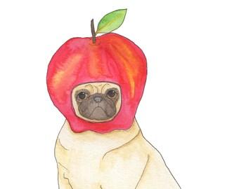 Pug Dog Lover Art Gift, Pug Art Print, Dog Lover Gifts For Men, For Women, Funny Animal Art Print, Kids Room Dog Art, Back To School,Pug Art