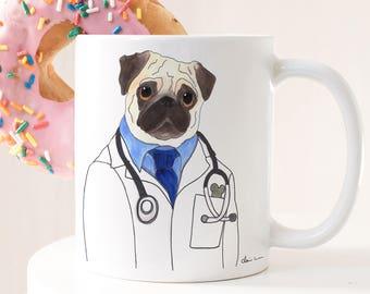 Veterinarian Graduation Gift, Pug Mug Gift, Doctor Mug Gift, Nurse Mug Gift, Vet Tech, Pug Dog Lover Gift, Dog Lover Gifts For Men, Boss Mug