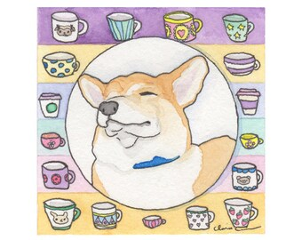 Corgi Dog Lover Gift, Pembroke Welsh Corgi Decor, Corgi Funny, Dog Lover Gifts For Women, Funny Animal Art Print,But First Coffee,Cute Corgi