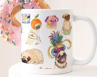 Pug Mug Gift, Pug Dog Lover Art Gift, Pug Gift For Her, Dog Lover Gifts For Women, Large Coffee Mug Cute Gift, Best Friend Gift Mug,Pug Loaf