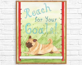 Going To College Gift, Pug Dog Lover Art Gift, New Job Gift, College Student Gift, Dorm Decoration,Funny Animal Art Print,Cubicle Decor Gift