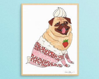 Pug Dog Lover Art Gift, Funny Animal Art Print, Pug Gift For Her, Dog Lover Gifts For Women, Cute Girlfriend Gifts, Gifts For Girls Under 20