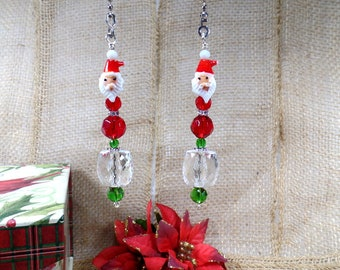 Santa Red and Green Christmas Ceiling Fan Light Pull Chain Set Holiday Decor Housewarming Secret Sister Gift
