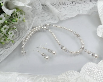 Pearl Bridal Necklace and Earring Set Bridal Necklace Bridal Earrings  Bridal Necklace White Pearl Necklace