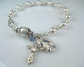 Something Blue White Pearl Rosary Bracelet Something Blue For Bride Pearl Bridal Bracelet Bridal Gift Wedding