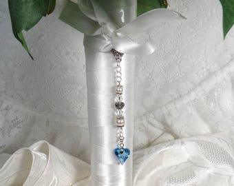 Something Blue Bridal Bouquet Charm For Bride Bouquet Accessory Wedding Keepsake Bridal shower Gift