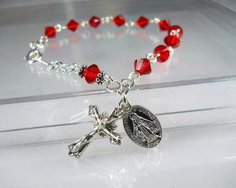 Red Rosary Bracelet Confirmation Gift Swarovski Rosary Bracelet July Birthstone Catholic Gift RCIA Gift Quinceanera Gift Religious Gift
