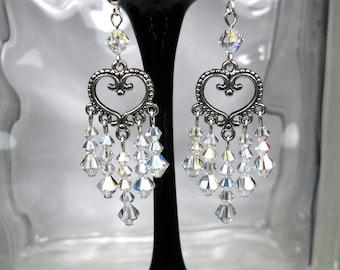 Clear Crystal Earrings Prom Earrings Chandelier Earrings Swarovski Earrings Wedding Dressy Bridal Earrings Sparkly