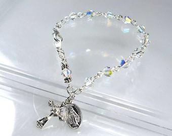 Swarovski Crystal Rosary Bracelet Quinceanera Confirmation Gift For Girls RCIA Gift Wedding April Birthstone Catholic Gift