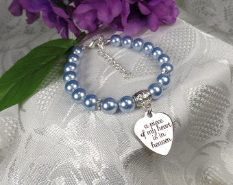 Memorial Jewelry Loss of Mother Light Blue Memorial Bracelet In Memory Of Memorial Keepsake
