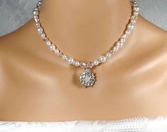 White Pearl Bridal Necklace Set Swarovski White Pearl Neck Bridal Necklace Pearl Earrings Bridal Jewelry Wedding Jewelry Bridal Necklace