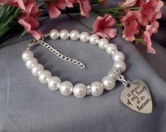 Memorial Jewelry Loss of Parent Memorial Bracelet White Pearl Memorial Bracelet In Memory Of Memorial Keepsake